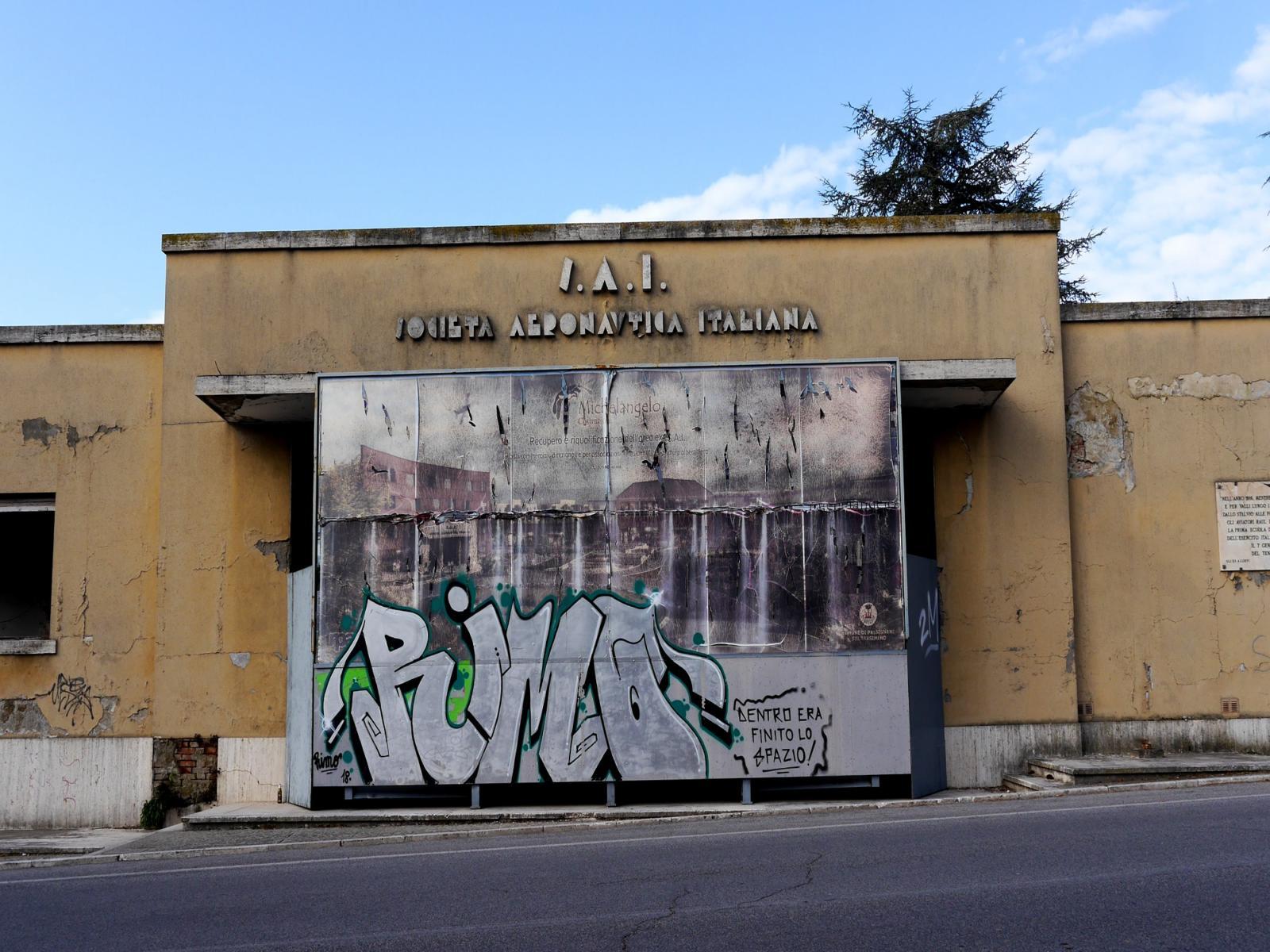 L'ingresso alla fabbrica ex Sai di Passignano sul Trasimeno