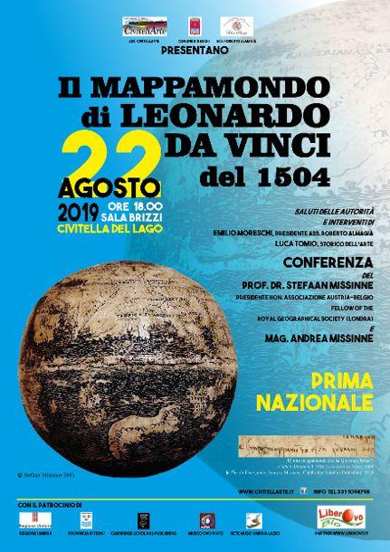 locandina della conferenza Il mappamondo di Leonardo da Vinci del 1504