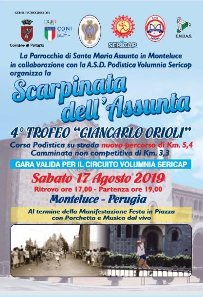 locandina della Scarpinata dell'Assunta 2019 a Perugia