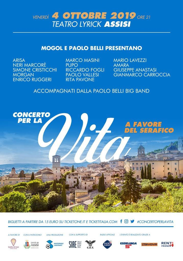 #ConcertoPerLaVita, 4 ottobre 2019 al Teatro Lyrick di Assisi