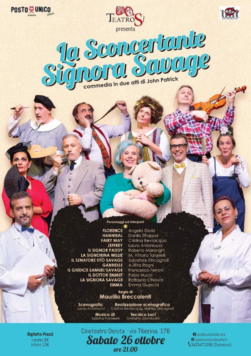 """Teatro a Deruta, il 26 ottobre va in scena """"La Sconcertante Signora Savage"""""""