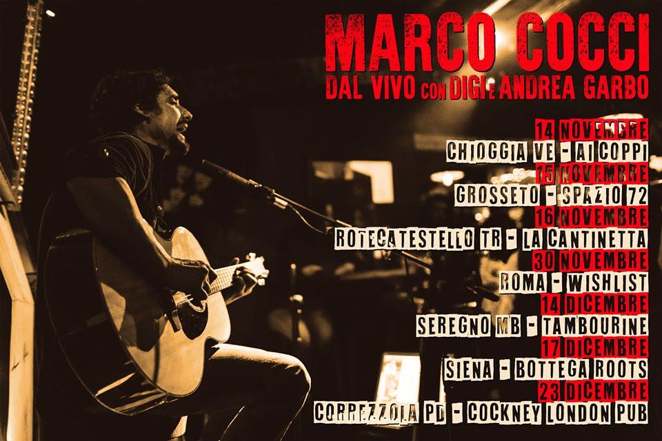Marco Cocci sabato 16 novembre si esibisce alla Cantinetta di Rotecastello