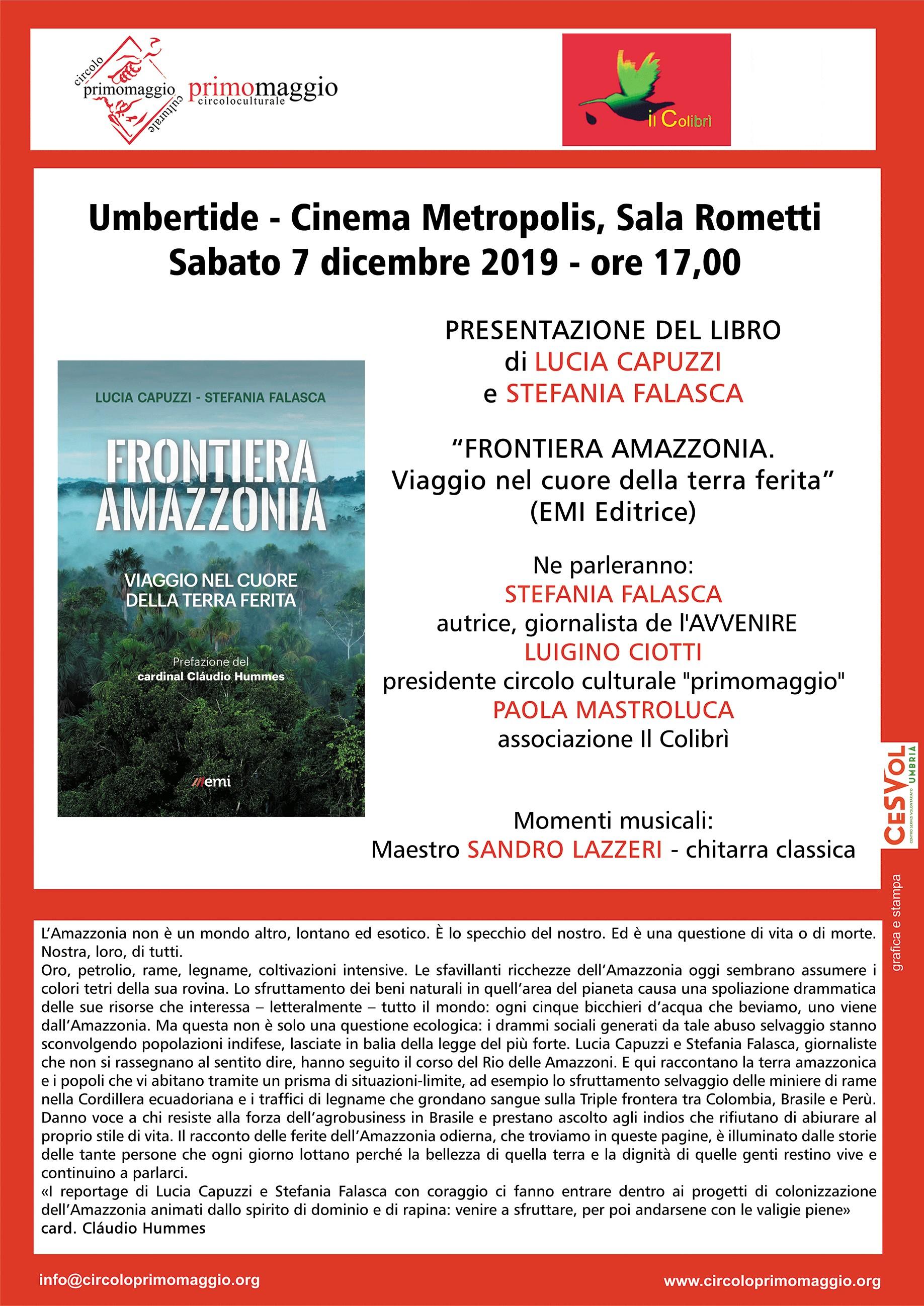 """Umbertide, presentazione del libro """"Frontiera Amazzonia"""""""