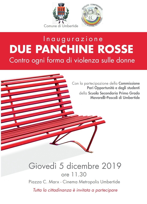 Due panchine rosse a Umbertide per dire basta alla violenza sulle donne