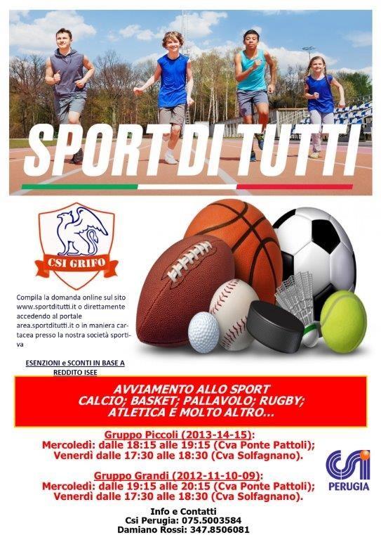 """Csi Perugia, parte il progetto """"Sport di tutti - edizione young"""""""